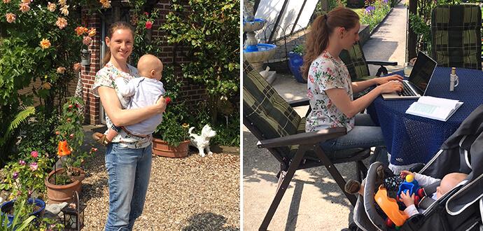 Isabelle Bons mit Kind und bei der Arbeit
