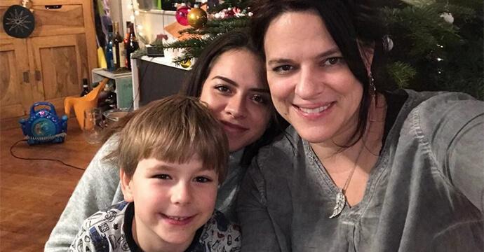 Natascha Schlienz mit ihren Kindern