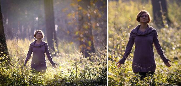 MomPreneurs Claire Oberwinter entspannt im Wald