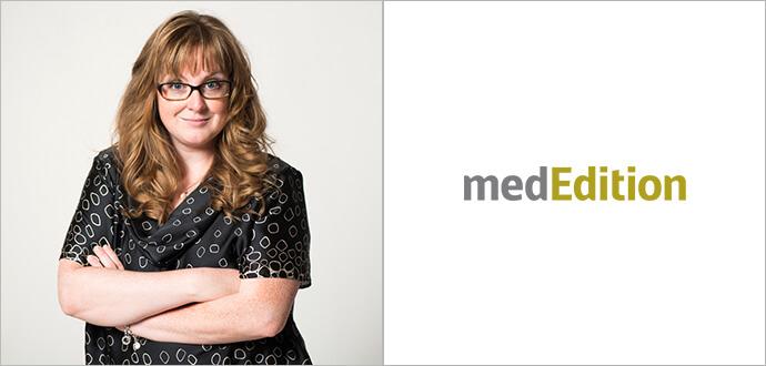 Séverine Bonini mit medEdition Logo
