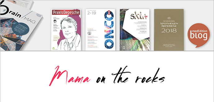 Séverine Bonini medizinische Zeitschriften und Mama on the Rocks Logo