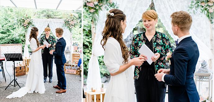 Anja Vatter als Traurednerin bei einer Hochzeitszeremonie