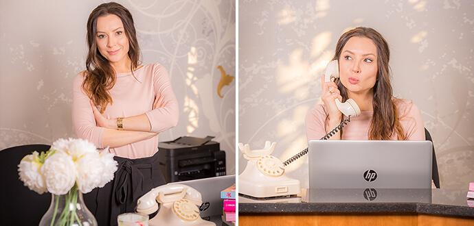 Patricia Stenert bei der Arbeit am Schreibtisch