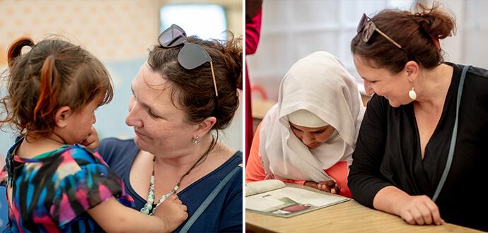 Jacqueline Flory und syrische Schueler
